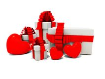 Presents with red hearts Stock Photos