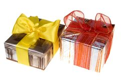 Presents with red ribbon Stock Photography