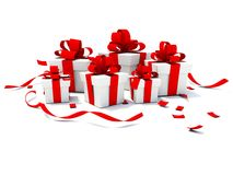 Presents with red ribbons Stock Images