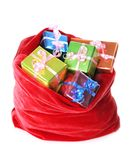 Presents in red santa`s bag Royalty Free Stock Photo