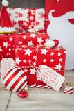 Presents in red and white wrapping paper Stock Image