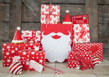 Presents in red and white wrapping paper Royalty Free Stock Photo