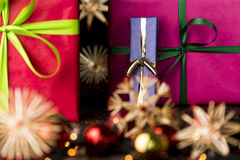 Presents, ribbons, twinkles and stars Royalty Free Stock Photos