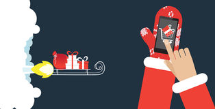 Presents on the rocket sled. Fast shipping e-commerce concept Stock Image