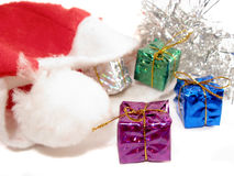 Presents from Santa hat Royalty Free Stock Photo