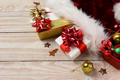 Presents Santa Hat Bells Royalty Free Stock Images