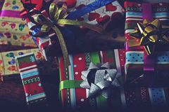 Presents scene. Close up of happy new year presents Royalty Free Stock Images