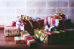 Presents scene. Close up scene of merry Christmas Stock Photo