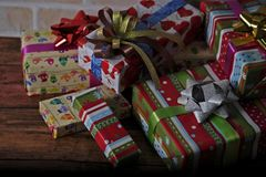 Presents scene. Close up scene of merry Christmas Royalty Free Stock Photos