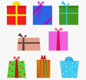 Presents. Set of various shapes of presents with ribbons Royalty Free Stock Photos