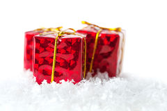 Presents and snow Royalty Free Stock Photography