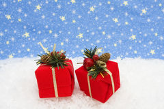 Presents on Snow Stock Images