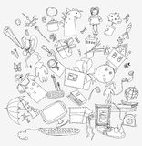 Presents and toys doodle, Kid's dreams Royalty Free Stock Image