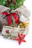 Presents under the christmas tree. Holiday decorations and presents under the christmas tree Stock Images