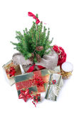 Presents under the christmas tree. Holiday decorations and presents under the christmas tree Stock Image