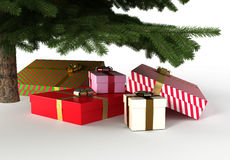 Presents under christmas tree, with clipping path. 3d illustration Royalty Free Stock Image