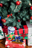 The presents under the christmas tree Stock Images