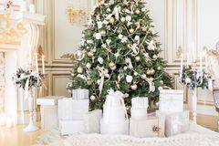 Presents under Christmas Tree in living room. Family Holiday New Year at Home. Close up Stock Photo