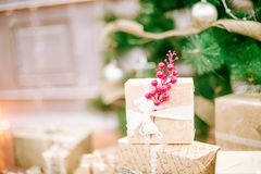 Presents under Christmas Tree in living room. Family Holiday New Year at Home Stock Image
