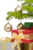 Presents under decorated Christmas tree. Partial view Stock Image