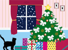 Presents under the tree. Christmas eve scene with presents waiting under the tree Stock Image