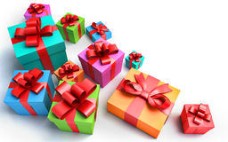 Presents on white background Stock Images