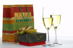 Presents and wine stock photos