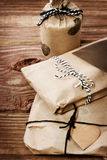Presents wraped in a rustic earthy style Stock Images