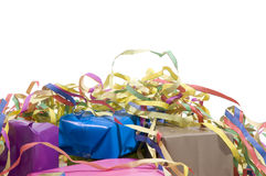 Presents wrapped in paper. With colorful streamers stock photos