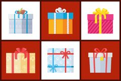 Presents Wrapped in Paper with Bows, Topped Decor. Presents wrapped in paper with bows, topped by pine cones and tapes, gift boxes vector illustration isolated Royalty Free Stock Image