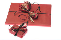 Presents Wrapped In Red Paper. Isolated Stock Images