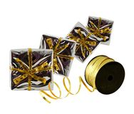 Presents wrapped in silver boxes Royalty Free Stock Photos