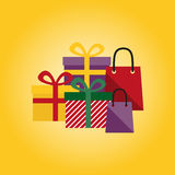 Presents on a yellow background Stock Photography