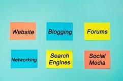 Presenza online, Internet, comunicazione, reti sociali nell'affare, sito Web, forum, blogging, rete, motori di ricerca, soci fotografia stock