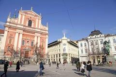 Preseren广场和方济会修士教会,卢布尔雅那,斯洛文尼亚 免版税库存照片