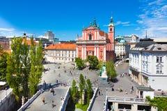 Preseren广场,卢布尔雅那,斯洛文尼亚 图库摄影