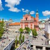 Preseren摆正,卢布尔雅那,斯洛文尼亚的首都 图库摄影