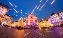 Preseren的广场,卢布尔雅那,斯洛文尼亚,欧洲 免版税库存照片