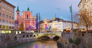 Preseren的广场,卢布尔雅那,斯洛文尼亚,欧洲 免版税图库摄影