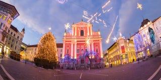 Preseren的广场,卢布尔雅那,斯洛文尼亚,欧洲 免版税库存图片