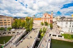 Preseren esquadra, Ljubljana, capital de Eslovênia Fotografia de Stock