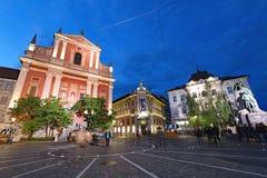 Preseren kwadrat, Ljubljana przy nocą zdjęcie stock