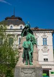 Preseren monument in central square of Ljubljana, Slovenia. France Preseren has been generally acknowledged as the greatest Slovene classical poet royalty free stock photo