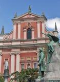 Preseren monument and Franciscan Church in Ljubljana Stock Photo