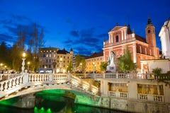 Preseren quadra, Transferrina, capitale della Slovenia Fotografia Stock Libera da Diritti