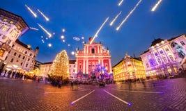 Preseren's square, Ljubljana, Slovenia, Europe. Romantic Ljubljana's city center  decorated for Christmas fairytale. Preseren's square, Ljubljana, Slovenia Stock Photo