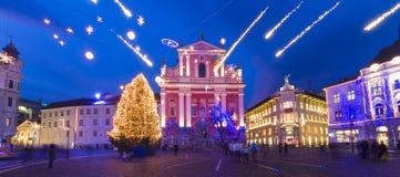 Preseren's square, Ljubljana, Slovenia, Europe. Romantic Ljubljana's city center  decorated for Christmas holiday. Preseren's square, Ljubljana, Slovenia Royalty Free Stock Photos