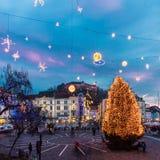 Preseren's square, Ljubljana, Slovenia, Europe. Royalty Free Stock Images
