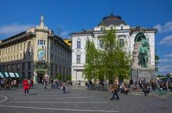 Preseren square in the center of Ljubljana, Slovenia. LJUBLJANA, SLOVENIA - APRIL 20, 2016: Preseren square Presernov trg with the Preseren monument Statue of Stock Photo