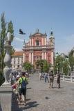 Preseren square, Ljubljana, capital of Slovenia. Stock Image